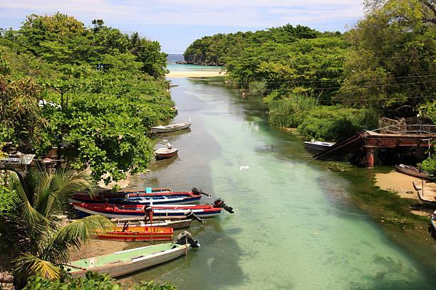Coastline, river and fishing boats near Ocho Rios, Jamaica
