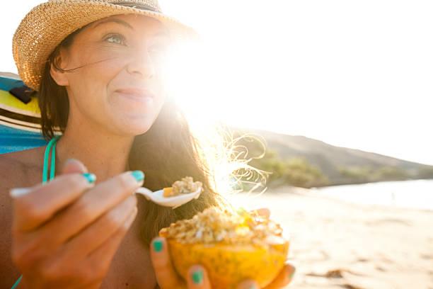 A female enjoying a day at the beach