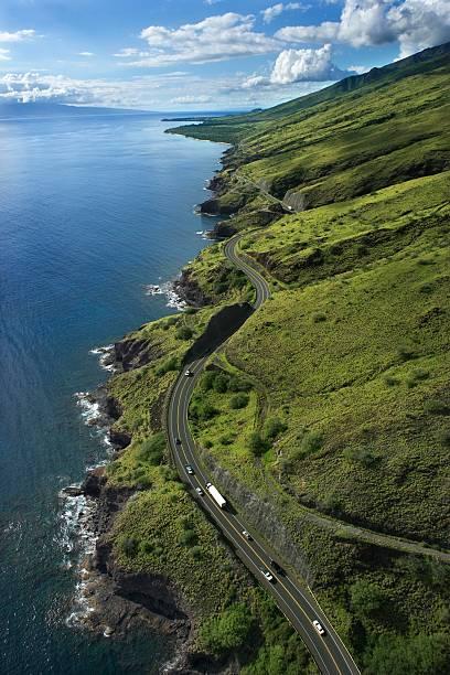 Aerial view of Hawaiian coastal highway