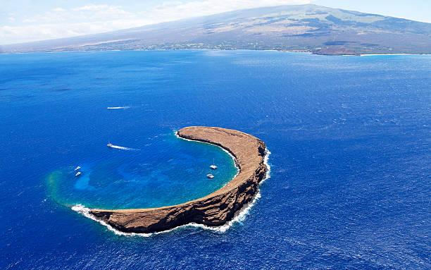 Famous snorkel spot in south Maui, Hawaii, Molokini Crate
