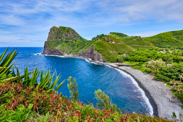 View of Kahakuloa Head and Kahakuloa stony beach from the Kahekili Highway,Maui,Hawaii,USA