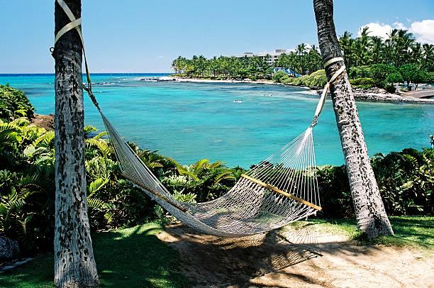 Maui Hawaii hammock on tropical turquoise resort hotel bay