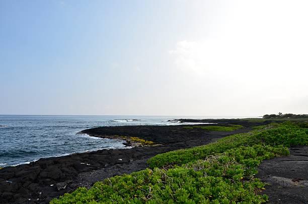 Black sand beach in Hawaii island.
