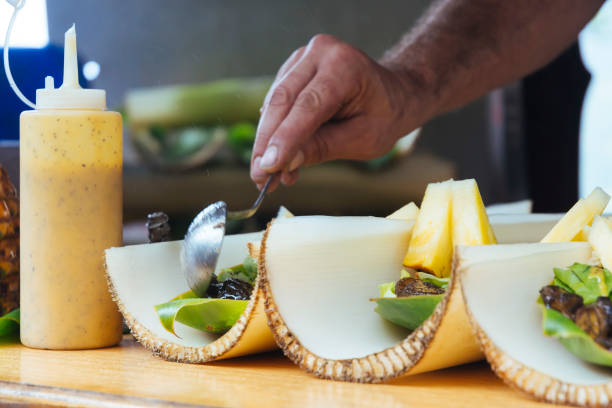 banana stump share plate at a roadside stall in Hawaii