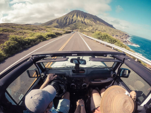 driving in a convertible, Lahaina, Maui, Hawaii,