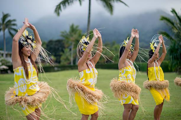 traditional Hawaiian dance during a luau